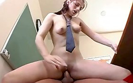 Dirty whore is looking really filthy while licking on this huge boner