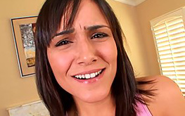 Beautiful brunette is sliding this huge boner deep inside her mouth