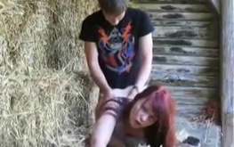 Redhead amateur gf hardly banged at the local hayloft