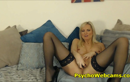 Slutty MILF in Stockings Orgasm Fantasies with Dildo